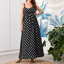Maternity Polka-dot Print Belted Cami Dress