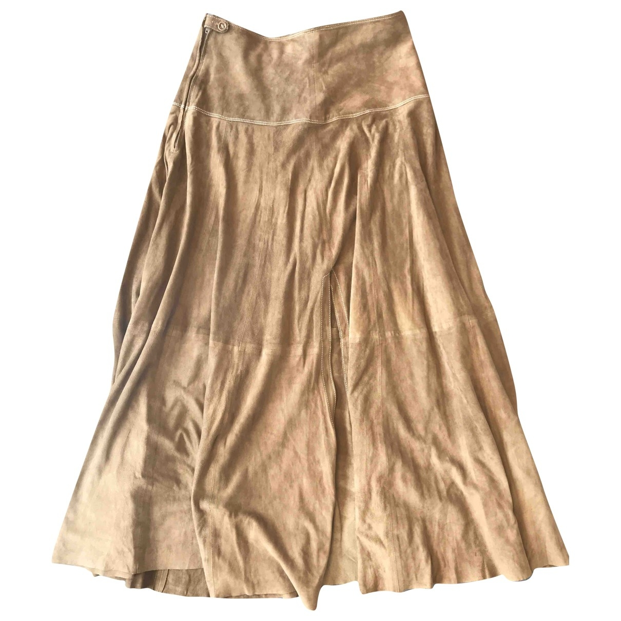 Non Signé / Unsigned \N Brown Suede skirt for Women 44 IT