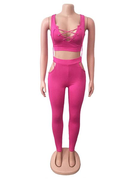 Milanoo Conjuntos de dos piezas Poliester rosa con cordones Pantalones casuales Sin mangas Traje de mujer