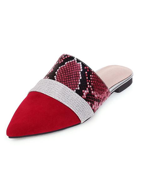 Milanoo Tamaño de las mujeres zapatos planos mulas punta estrecha Zapatillas Plus