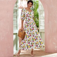 Floral Print Puff Sleeve Backless A-line Dress