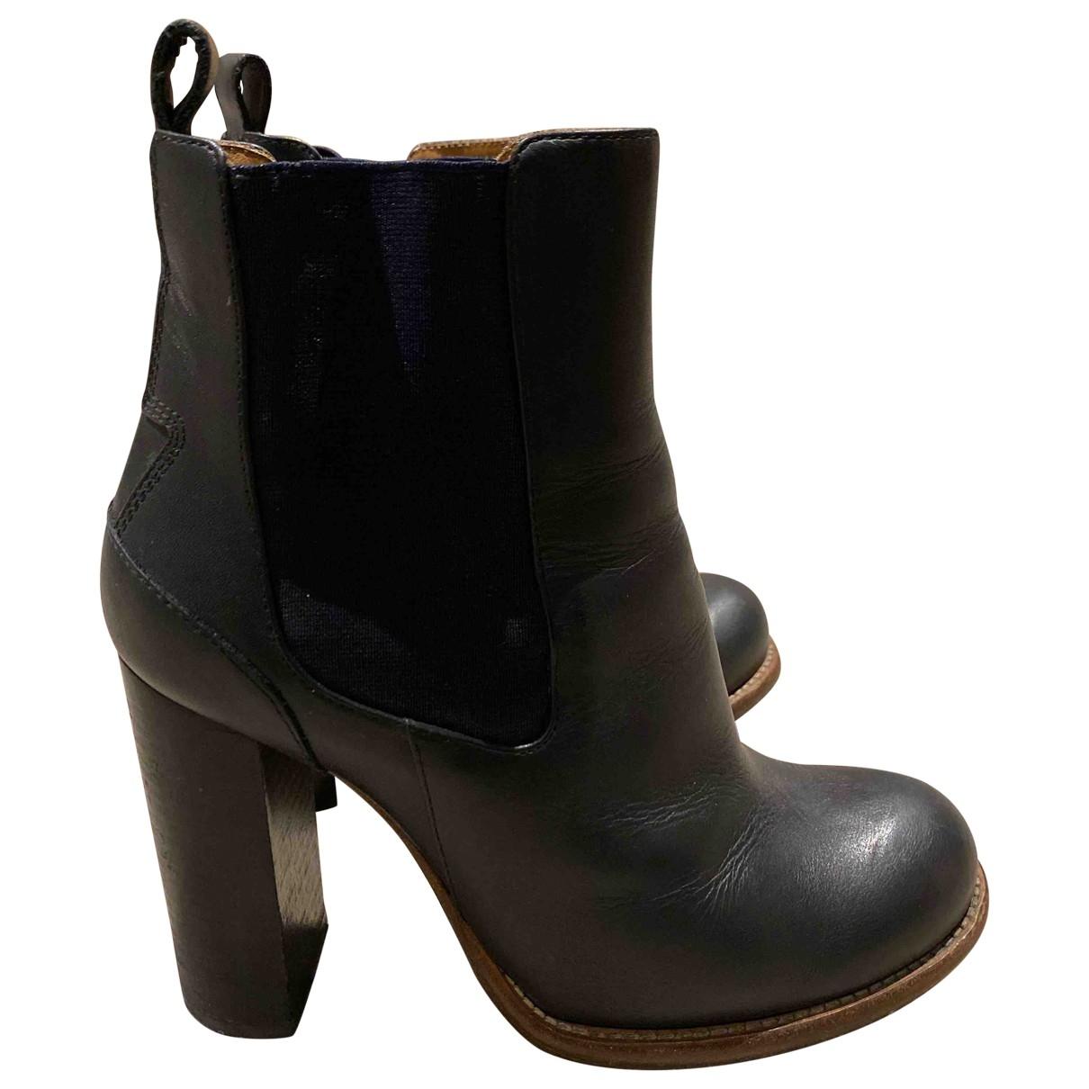 Chloe - Boots   pour femme en cuir - bleu