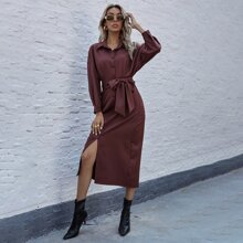 Solid Split Thigh Belted Shirt Dress