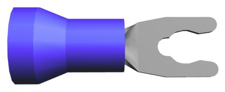 TE Connectivity 52955 Series Insulated Crimp Spade Connector, 1mm² to 2.6mm², 16AWG to 14AWG, M3.5 (#6) Stud Size, Blue (50)