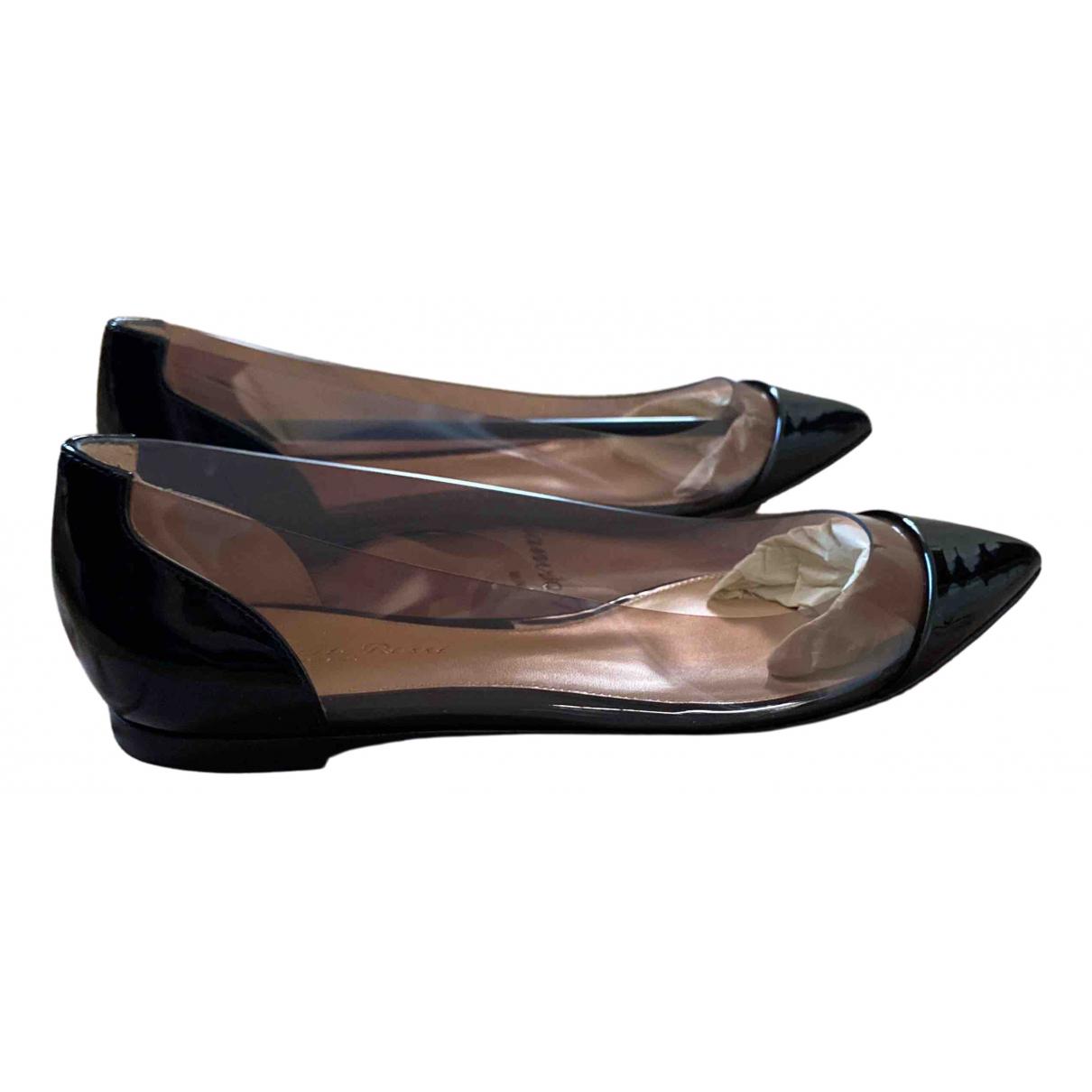 Gianvito Rossi - Ballerines Plexi pour femme en cuir verni - noir