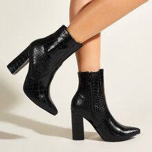 Crocodile Chunky Heeled Boots