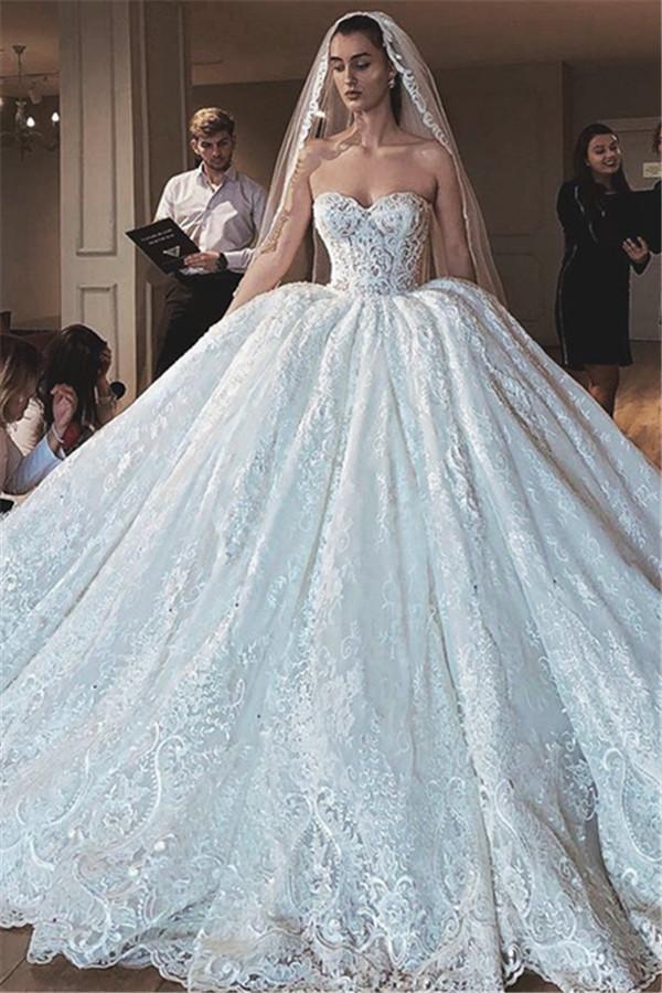 Glamour sexy bretelles en dentelle appliques robe de mariee robe de bal