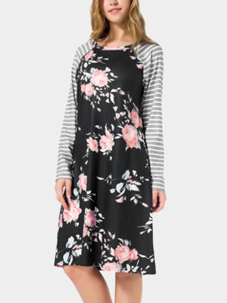 Yoins Black Random Floral Print Round Neck Dress