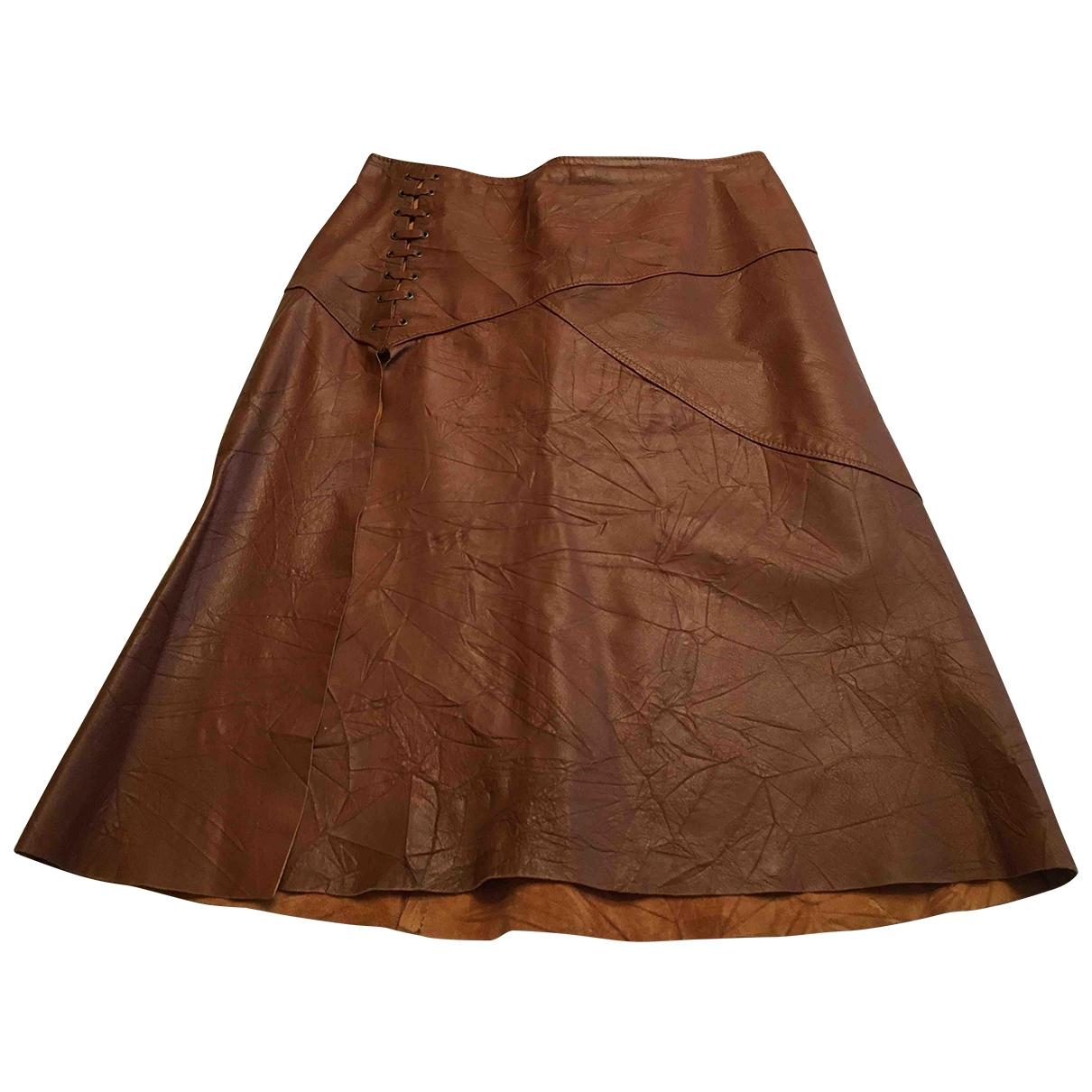 Falda midi de Cuero Pinko