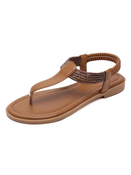 Milanoo Women Flat Sandals Flat PU Leather Casual