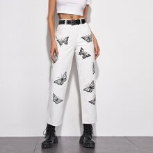Butterfly Print Straight Leg Jeans Without Belt