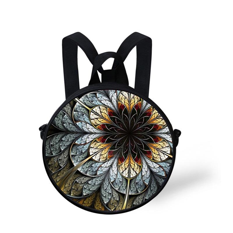 Floral 3D Pattern Round School Bag Shoulders Backpack