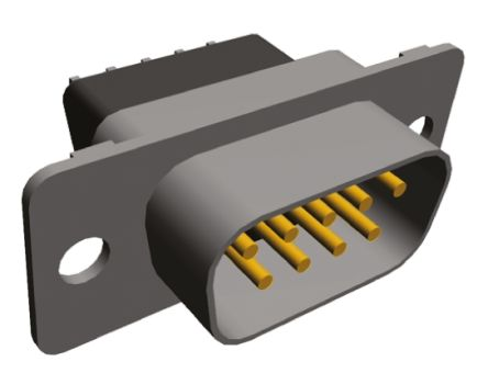 TE Connectivity Amplimite HD-20 Series, 9 Way Through Hole PCB D-sub Connector Plug, 2.743mm Pitch, with 3.05 mm