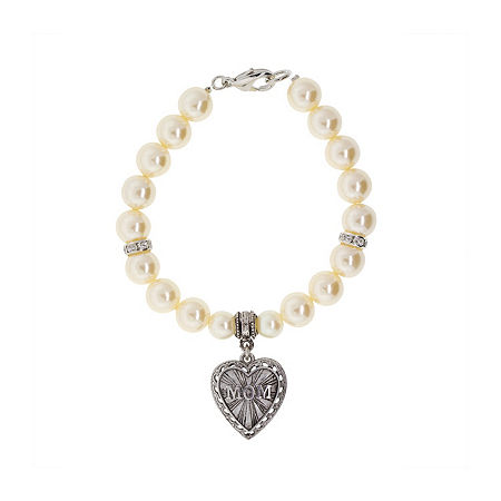 1928 Mother's Day Items Womens Stretch Bracelet, One Size , White