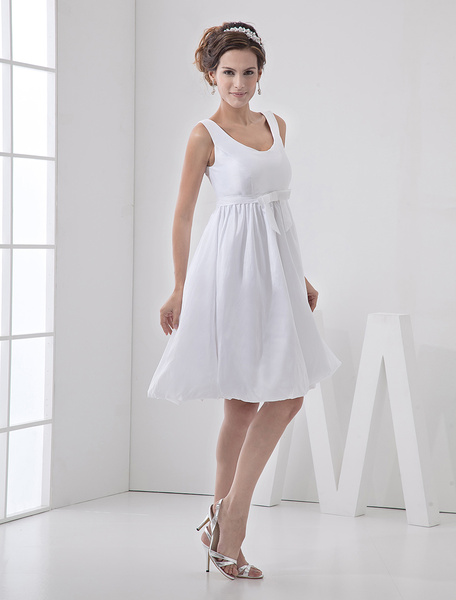 Milanoo Vestidos Blancos De Novia Sencillos Vestido Corto De Novia Con Cuello De Joya Linea-A Con Faja