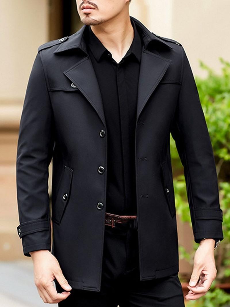 Ericdress Plain Mid-Length Button Mens Slim Trench Coat