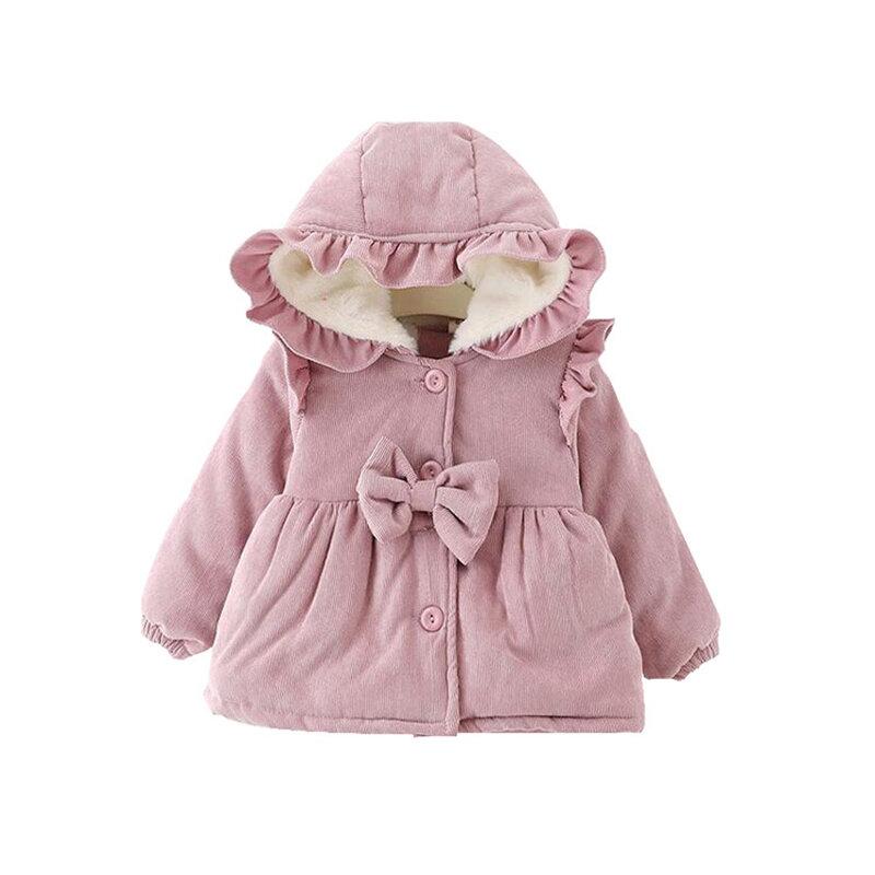 Corduroy Comfy Bowknot Cute Girls Fleece Warm Winter Hooded Coat For 0-2 Years