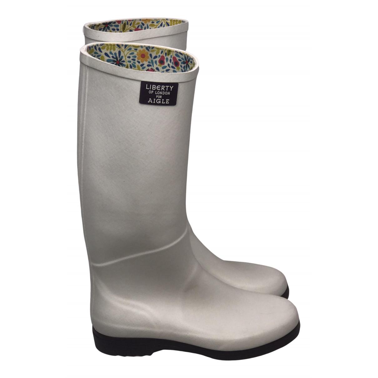 Aigle N White Rubber Boots for Women 37 EU