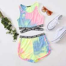 Contrast Letter Tape Detail Tie Dye Tank Top and Shorts Set