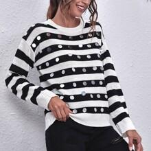 Pullover mit Kontrast Pailletten und Streifen