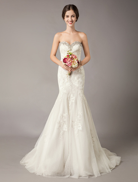 Milanoo Mermaid Wedding Dresses Ivory Strapless Sweetheart Beaded Lace Tulle Bridal Gown With Train