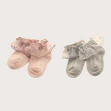 2 Paare Baby Socken mit Spitzen