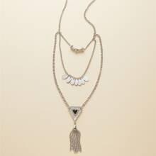 Mehrschichtige Halskette mit Quasten