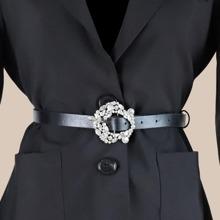 Cinturon con hebilla con diamante de imitacion