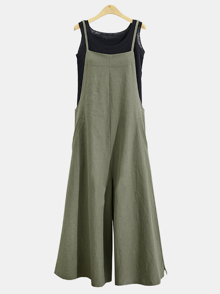Casual Solid Color Spaghetti Strap Jumpsuits For Women