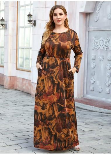 Plus Size Retro Print Long Sleeve Maxi Dress - 4XL