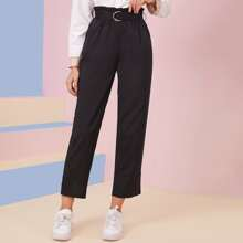 Paper Bag Waist Straight Leg Belted Pants