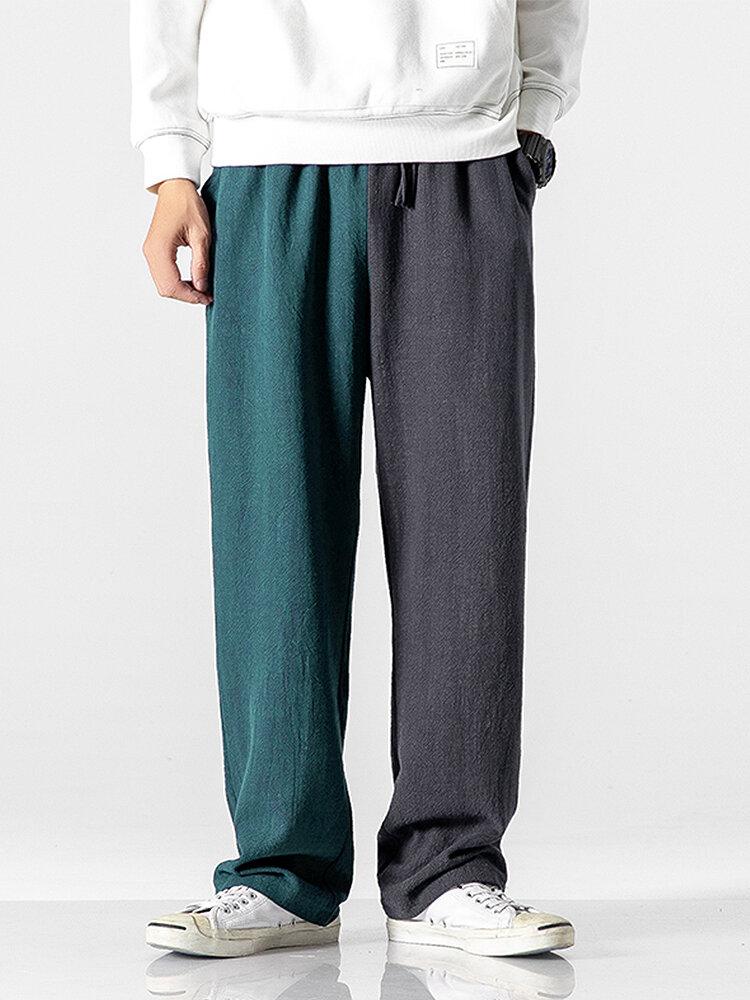 Mens Cotton Patchwork Drawstring Elastic Waist Loose Straight Pants