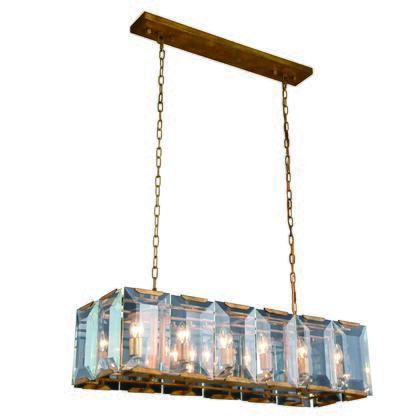 1212D40GI Monaco Collection Pendant Lamp L:40 W:13 H:12 Lt:12 Golden Iron Finish Glass Crystal