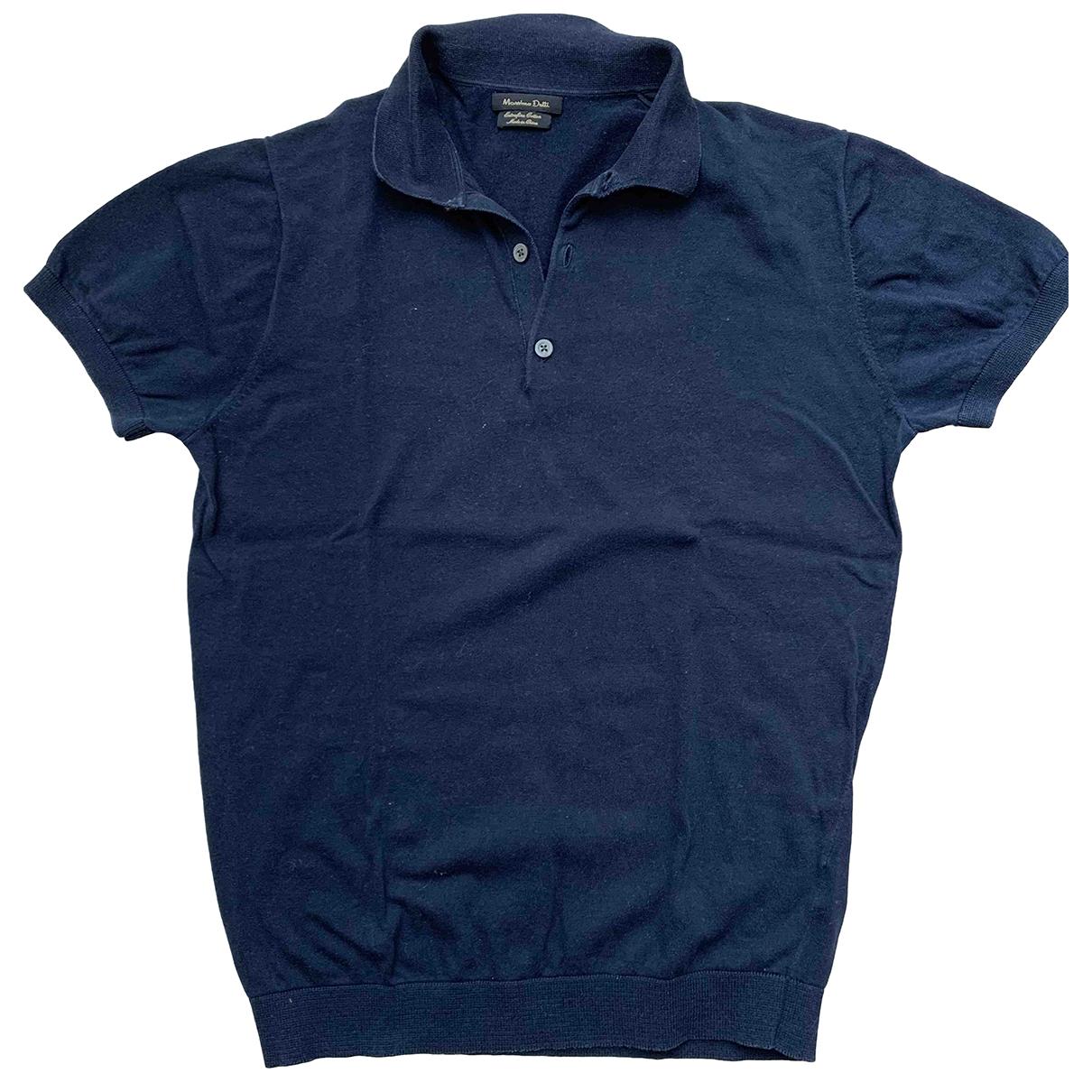 Massimo Dutti - Polos   pour homme en coton - bleu
