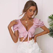 Frill Trim Puff Sleeve Tie Front Ditsy Floral Top