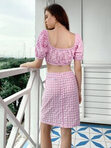 Square Neck Tie Front Gingham Top & Ruffle Skirt