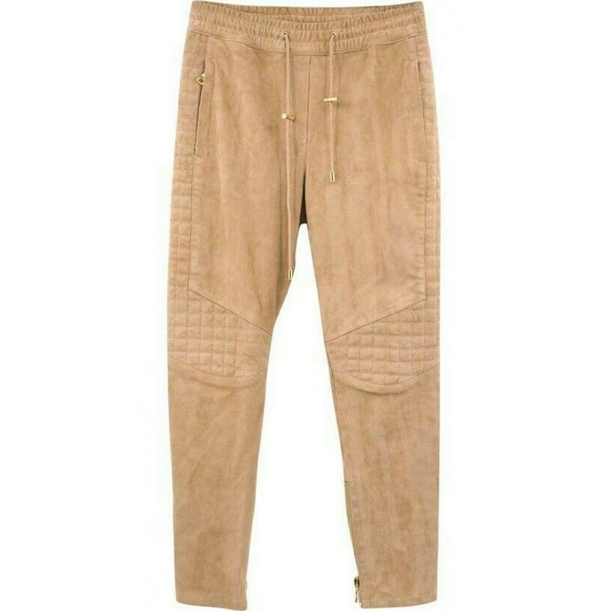 Balmain \N Beige Suede Trousers for Women 36 FR