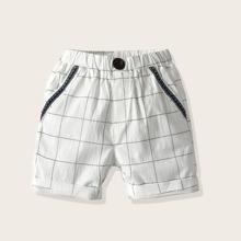 Kleinkind Jungen Shorts mit Gitter, Stickereien und Knopfen