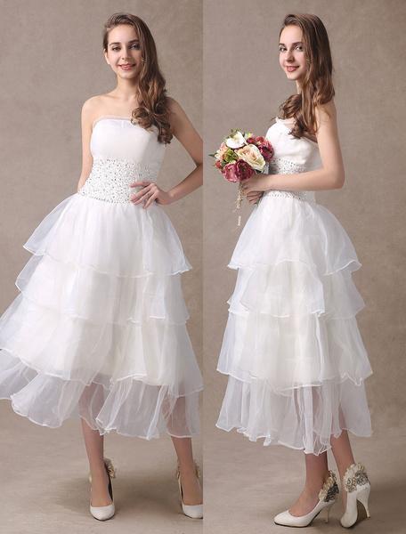 Milanoo Vestidos de novia cortos rebordear sin tirantes de organza con gradas te longitud marfil vestido de novia