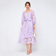Button Front Jacquard Flower Organza Dress With Camisole