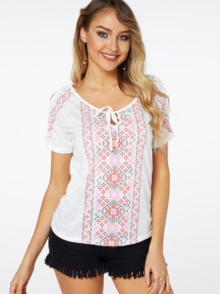 Yoins White Random Geo Print Cold Shoulder Causal T-shirt