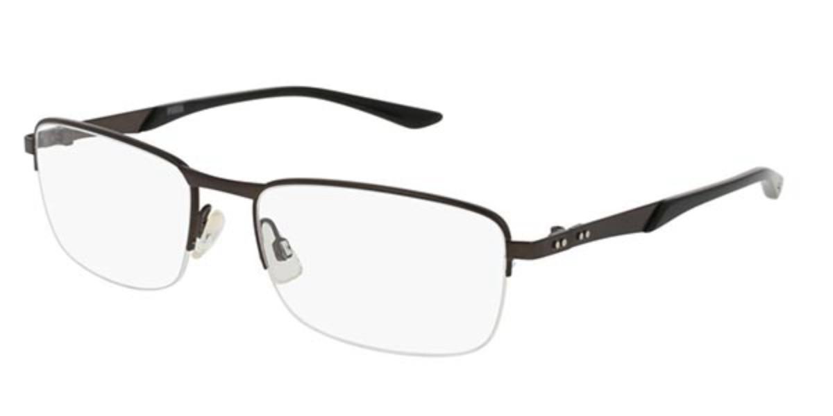 Puma PU0094O 005 Mens Glasses Brown Size 57 - Free Lenses - HSA/FSA Insurance - Blue Light Block Available