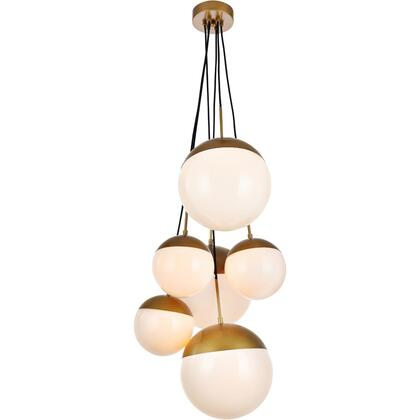 LD6096BR Eclipse 6 Light 28 inch Brass Pendant Ceiling Light With Frosted White