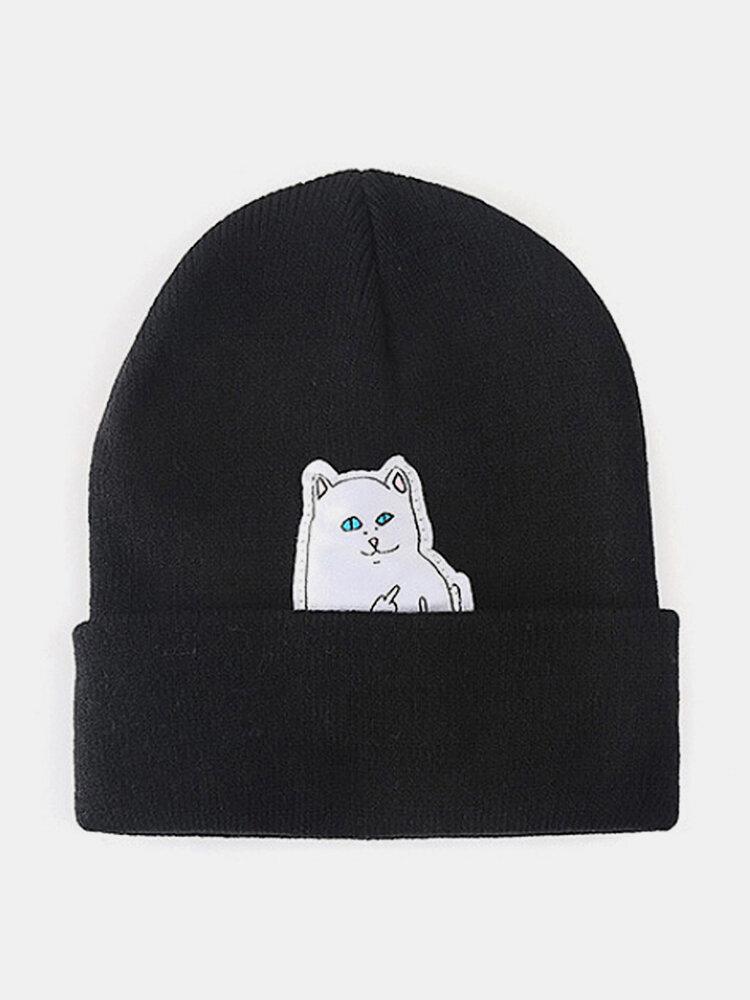 Men & Women Wool Warm Windproof Sunvisor Cat Printing Knitted Hat Beanie Hat