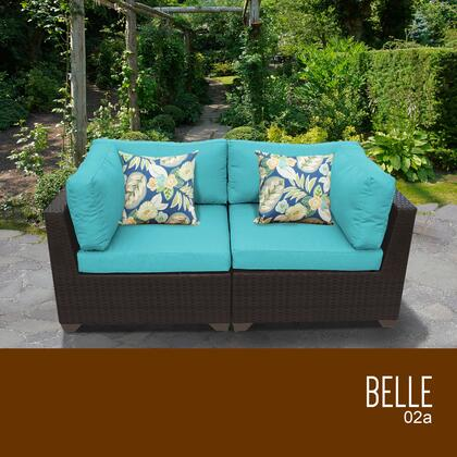 BELLE-02a-ARUBA Belle 2 Piece Outdoor Wicker Patio Furniture Set 02a with 2 Covers: Wheat and
