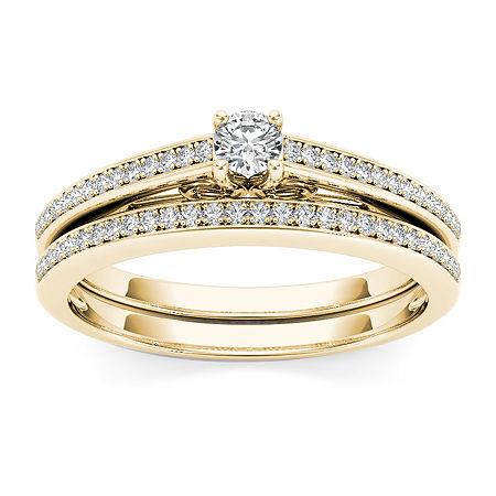 Womens 1/2 CT. T.W. Genuine White Diamond 10K Gold Bridal Set, 7 , No Color Family