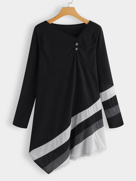 Yoins Black Button Design V-neck Long Sleeves Dress With Stripe Irregular Hem