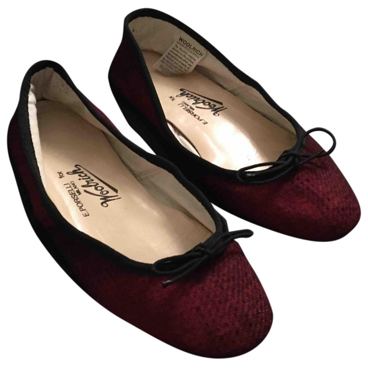 E Porselli \N Red Tweed Ballet flats for Women 38 EU