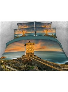 Lighthouse at Golden Sunset Duvet Cover Set 3D Printed 4-Piece Scenery Bedding Sets