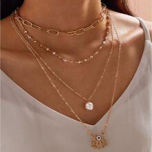 1 Stueck Mehrschichtige Halskette mit Strass und Kette